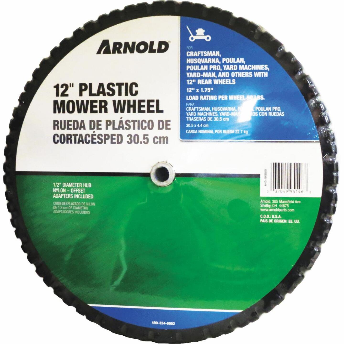 Arnold 12 In. Plastic Mower Wheel Image 1
