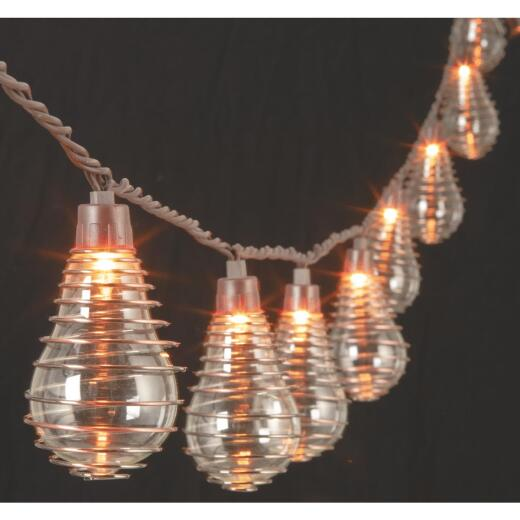 Gerson 10 Ft. 10-Light Clear Bulb Wire Spiral String Lights