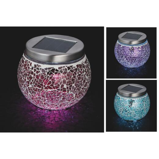 Outdoor Expressions 3.5 In. H. x 3.5 In. Dia. Green, Red, or Purple Crackled Glass Tabletop Solar Pa