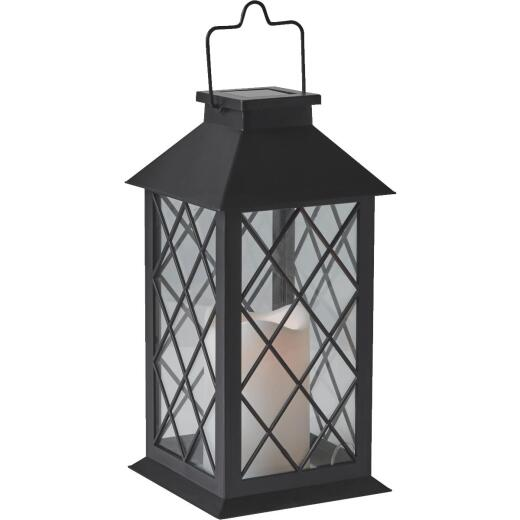 Gardman Cole and Bright 5.5 In. W. x 11 In. H. x 5.5 In. D. Amber Candle Light Plastic LED Solar Lan